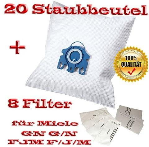 20 fürMiele Staubbeutel Typ GN G/N FJM F/J/M + 8 Filter - Inhalt je Faltschachtel: 4 x 5 Staubbeutel + 4 x 1 Super Air Clean-Filter + 4 x 1 Motorschutzfilter - Staubbeutel GN FJM HyClean (Farbe: blau) Geeignet für: S 4xx, S 6xx, S 8xx, S 2xxx, S 5xxx , S 6xxx Staubbeutel Auch geeignet für:ALLERGY CONTROL , ALLERVAC SENSOR, AUTOMATIC TT 5000, BABY CARE, BIG CAT & DOG, BLUE MOON, BRILLANT 6600, CAT & DOG,