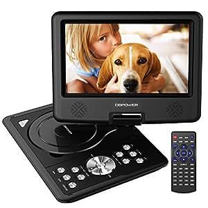 DBPOWER 9.5'' Lettore DVD portatile, 5 ore Batteria ricaricabile, display inclinabile, Massimo support con schede SD, pennette USB e riproduzione diretta di AVI/RMVB/MP3/JPEG (Nero, 9.5)