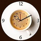 Wanduhr aus Glas für die Küche, It's Coffee Time, Kaffeetasse, braun, 30x30 cm von Eurographics