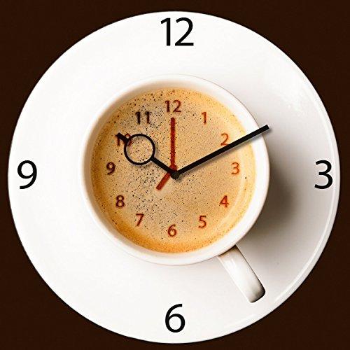 Eurographics Wanduhr aus Glas für die Küche, It's Coffee Time, Kaffeetasse, braun, 30x30 cm