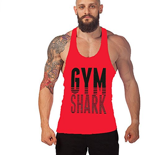 Lendoo da uomo cotone Bodybuilding Sports Vest, Red Shark, Large