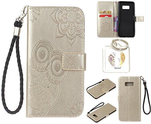 Preisvergleich Produktbild für Samsung Galaxy S8+ S8 Plus PU Leder Silikon Schutzhülle Handy case Book Style Portemonnaie Design für Samsung GalaxyS8+ S8 Plus + Schlüsselanhänger ( RDX (2)