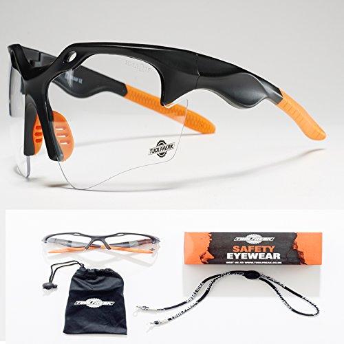 ToolFreak Schutzbrille   Maximaler UV Schutz   Beschichtet und Kratzfest für klare Sicht   Augen Schutz mit Sport Stil Design Sehr Leicht   Klare Glaeser oder Dunkle Glaeser (Klare Glaeser)