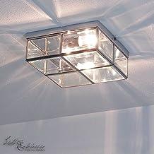 Deckenleuchte In Chrom Bauhaus Design 2xE14 Bis Zu 40 Watt 230V Aus Metall Glas Schlafzimmer