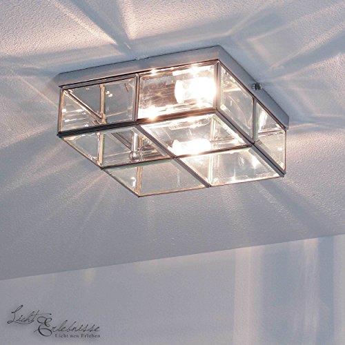Deckenleuchte in Chrom Bauhaus Design 2xE14 bis zu 40 Watt 230V aus Metall & Glas Schlafzimmer...