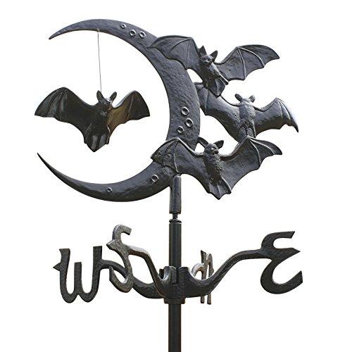 Design Toscano Vampirfledermäuse zum Mondsichel, Wetterfahne aus Metal: Dachhalterung