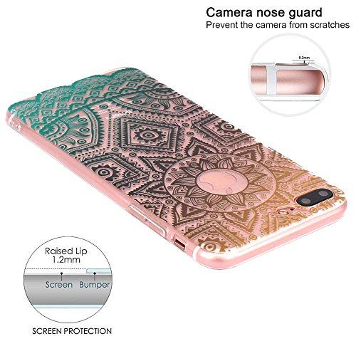iPhone 7 Plus Hülle, JIAXIUFEN TPU Silikon Schutz Handy Hülle Handytasche HandyHülle Etui Schale Schutzhülle Case Cover Tasche Etui für iPhone 7 Plus (5,5 Zoll) - Pink White Tribal Mandala Dream Catch Color07