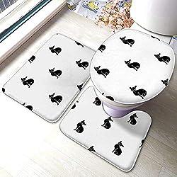 3-teiliges Bad-Antirutschkissen Sphynx-Symbol im schwarzen Stil Weiße Katzenrassen-Symbol Lager Antirutschkissen Badematten-Deckel