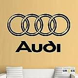 Audi Logo Car A A A Kühler Mechaniker Quote Wall Kunst-Aufkleber-Abziehbilder Vinyl Startseite Schlafzimmer Jungen Mädchen Kinder Erwachsene Heim Zitate Küche Badezimmer Wandaufkleber