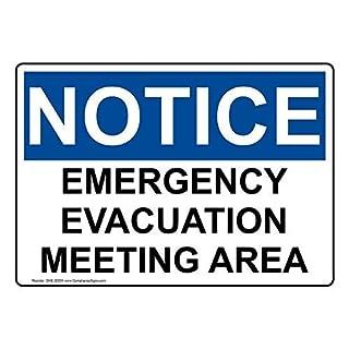 AmyyEden Schild Notfall Evakuation Meeting Area, Aluminium, 20,3 x 30,5 cm