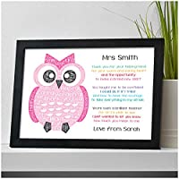 PERSONALISED Teacher Owl Gifts - Thank You Gifts for Teachers, Teaching Assistants, TA, Nursery Teachers - Best Teacher Poem Gifts - Teacher Appreciation - End of Term, School Leaving Gifts