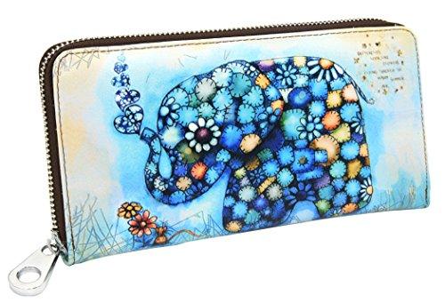 DCCN Damen Zip Around Geldbörse Leder Lang Portemonnaie Brieftasche (Portemonnaie-tasche Around Zip)