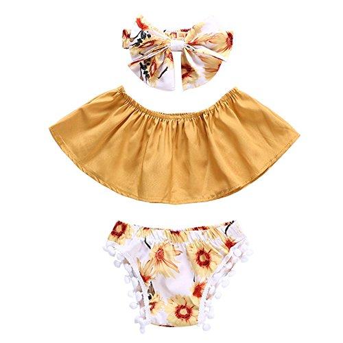 Blaward Baby Mädchen Sommerkleidung Sets Outfits Sonnenblume Tube Tops +PP Shorts Hosen+Bow-Knot Stirnband 3 STK