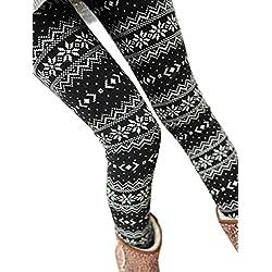 QinMM Pantalones El Invierno de Las Mujeres cálido térmico elástico Leggings Pantalones Invierno Warm Fleece Thermal Stretchy Leggings Pants de Navidad