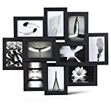 MVPOWER Bilderrahmen 10er Fotorhamen Set je 10x15 cm Foto Rahmen Bilder Collage MDF Frame Set mit Glas Frontplatte (Schwarz)