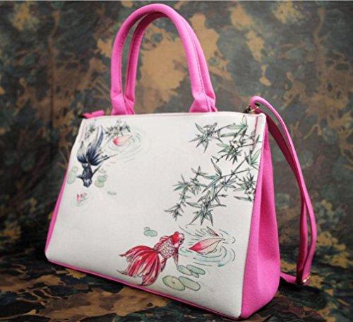 HYLM Borse di moda Borsa nuova borsa della borsa della tela di canapa della signora Folk-Custom , e11 ea04