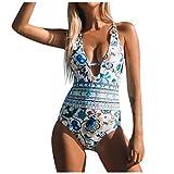 ZODOF Traje de Baño de Una Pieza para Mujer Monokini de Hombro con Volantes y Cuello en V Bikini Bañador de Playa Verano