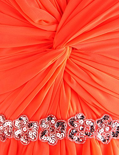 Dressystar Robe de bal Robe de fille de demoiselle d'honneur/de soirée courte sans Bretelles en Mousseline Orange