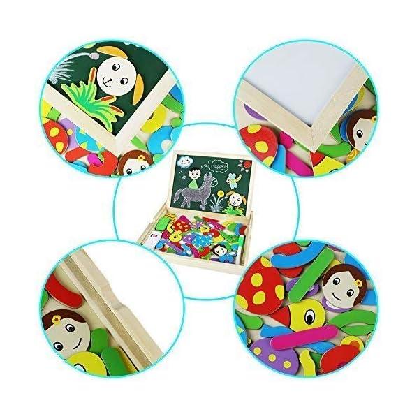 Magnetico Lavagna Puzzle di Legno Giochi Montessori Magnetica Lavagnetta a Double Face Magnetica Puzzle Apprendimento… 3 spesavip