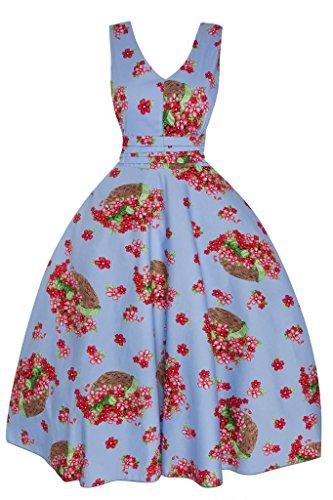 Femmes Années 1950 Retro Vintage InspiréÉté Motif Floral Pin Up Swing Robe Soirée Bleu