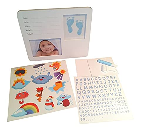 Baby Casting Kit Baby Boy Foot or Hand print white frame Kit to Personalise for Keepsake - Ragazze Personalizzato Photo