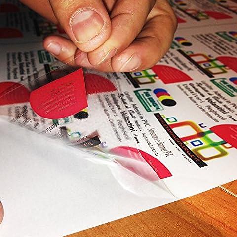 Carta Adesiva PVC A4 Fogli in vinile 5-10-15-20-25 per stampanti laser Trasparenti (5) - 2AINTIMO® - Lucida Poliestere A Getto D'inchiostro