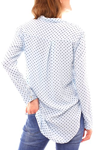 Easy Young Fashion Damen Langarm Hemd Bluse gepunktet One Size Skyblue