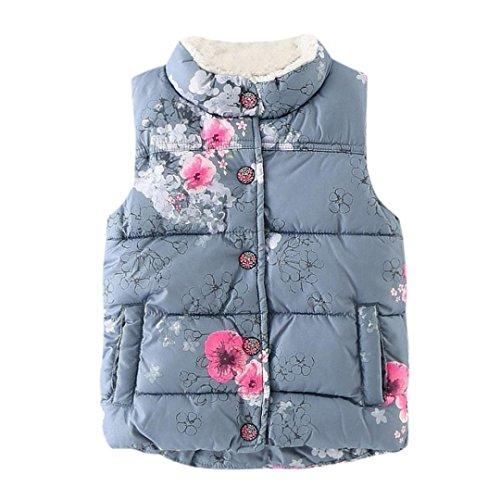 Kinder Daunenjacke Hirolan Kinder Winterjacke Säugling Blumen Jacken Baby Kleinkind Warm Weste Weste Kleider Ärmellos Mantel Hemd Mit Stehkragen (100, Grau)