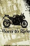 Born to Ride 30,5x 45,7cm Baumwolle Print Biker-Motorrad Zubehör