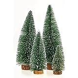 WEKSI INC®Lot de 4 10cm+15cm+20cm+25cm Hauteur MINI Arbre de Noël Sapin Artificiel Tabletop Tree Assorted Pine Trees Christmas / Xmas Décoration Noël Vitrine