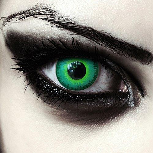Gift grüne farbige Elfen Kontaktlinsen für Halloween Karneval Kostüm, 2 Stück, Designelnses, Model: Green Elfe (Halloween Grün)