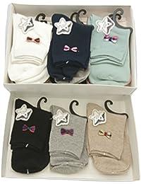 TEXTURAS HOME Promopack - 6 pares Calcetines Mujer con aplique Pajarita Algodón (Talla Única 35