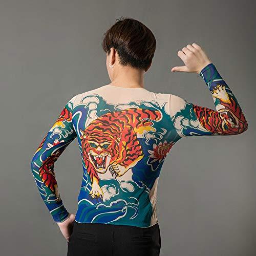 tzxdbh Personalidad Camiseta de Manga Larga para Hombre Summer Print Men's Tattoo Nightclub Social Tattoo Clothes 49 L