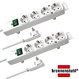 Brennenstuhl Comfort-Line Plus, Steckdosenleiste 4-fach (mit Flachstecker, Schalter, 2m Kabel und extra breite Abstände der Steckdosen) Farbe: weiß | 2 Stück