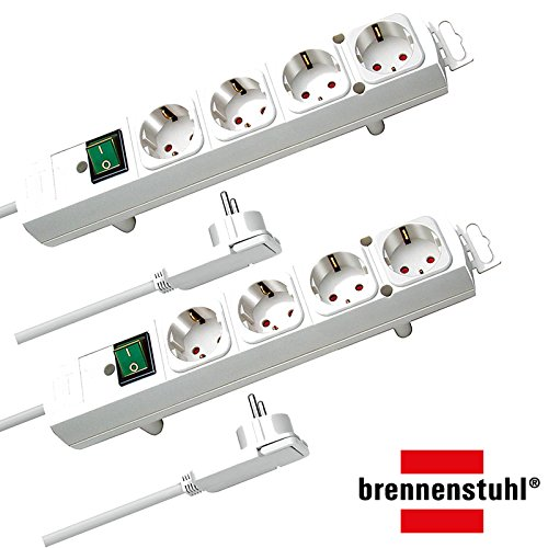 Brennenstuhl Comfort-Line Plus, Steckdosenleiste 4-fach (mit Flachstecker, Schalter, 2m Kabel und extra breite Abstände der Steckdosen) Farbe: weiß   2 Stück