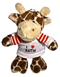Giraffe Plush Keychain with I Love Ruth (first name/surname/nickname)