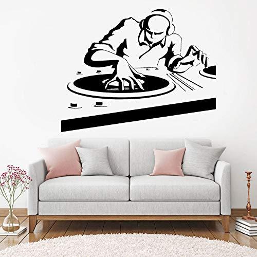 SLQUIET DIY Musik DJ Wandaufkleber Nachtclub Pop Musik Stil Wandtattoos Nachtclub Dekoration Abnehmbare Vinyl Musik DJ Wandbild Orange 72x57 cm