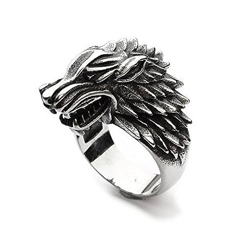 Game Of Thrones Bijoux - Miss–E–Bijoux argent en acier inoxydable Ice Loup