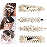 Pearls Hair Clips for Women Girls - 4pcs Large Bows/Clips/Ties for Birthday Valentines Day Gifts Bling Hairpins Headwear Barrette Styling Tools Accessories