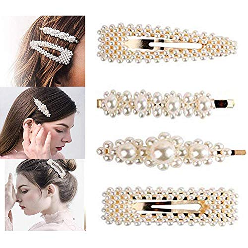 Pearls Hair Clips for Women Girls - 4pcs Large Bows/Clips/Ties for Birthday Valentines Day Gifts Bling Hairpins Headwear Barrette Styling Tools Accessories (Bow Clip Tie)