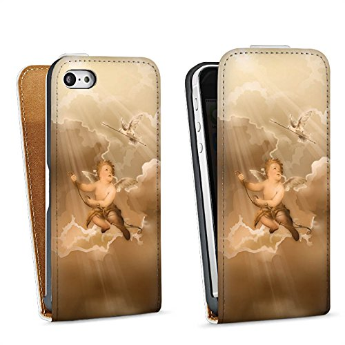 Apple iPhone 4 Housse Étui Silicone Coque Protection Amour Amour Ange Sac Downflip blanc