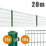 20 m Komplett Set Grün Michl Doppelstabmatten + Pfosten + Zubehör
