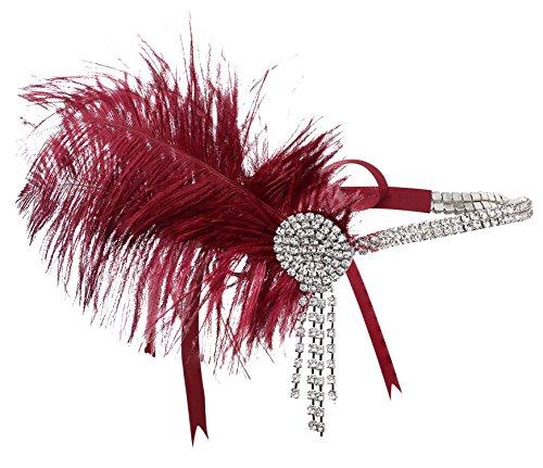 BABEYOND Damen Stirnband 1920s Stil Feder Haarband Inspiriert von Der Große Gatsby Haar Accessoires für Damen One Size (1920 Accessoires Haar)
