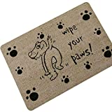 Gnzoe Gummi Teppich Hund Pfoten Muster Design Teppiche für Wohnzimmer Schlafzimmer Braun 70x45CM