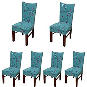 6 x Stretch Dining Room Chair Slipcovers with Printed ...