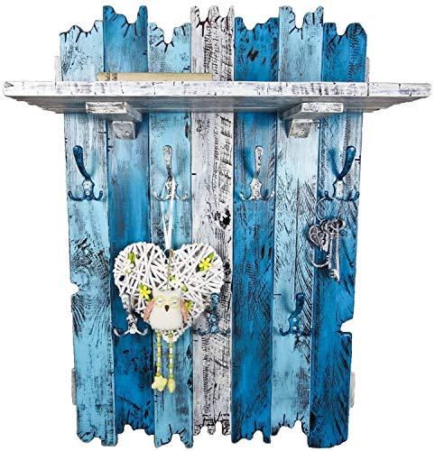 SHaBBy CHic ViNTaGe XXL Holz Garderobe mit 7x3 Metallhaken blau weiß (HXBXT: 115x7ox15 cm) aus Echtholz/Masivholz im used look rustikal Landhaus Stil (alternativ: Gaderobe, Gardrobe) - Blaue Rustikale Kommode