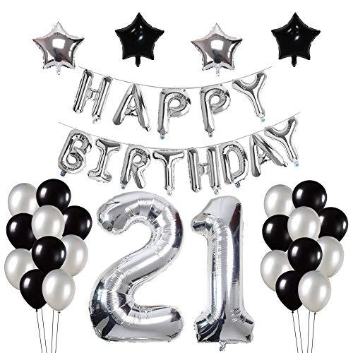 Yoart 21. Geburtstag Dekorationen, Silber und Schwarz für Junge Mann mit Happy Birthday Banner Star Folie Ballons Latex Ballons Dekoration (Ballons Birthday Happy Schwarz)