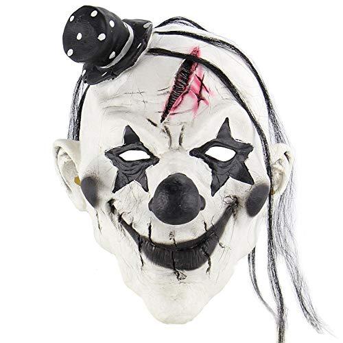 Wbdd Maske Beängstigend Böse Clown Maske, Doppelte Gesicht Latex Gummi Maske Halloween Kostüm Maske (Blut) Clown Mit Haaren Für Erwachsene Masken Teufel Clown