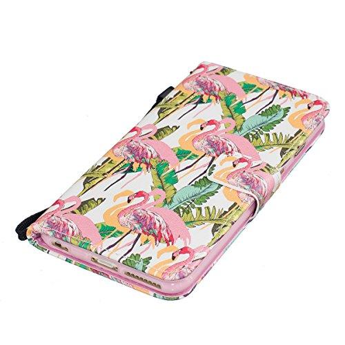 iPhone 6S Plus Hülle,iPhone 6 Plus Case,iPhone 6S Plus Cover - Felfy PU Ledertasche Strap Flip Standfunktion Magnetverschluss Luxe Bookstyle Ledertasche Nette Retro Mode Painted Muster Abdeckung Schut Lanyard Flamingos