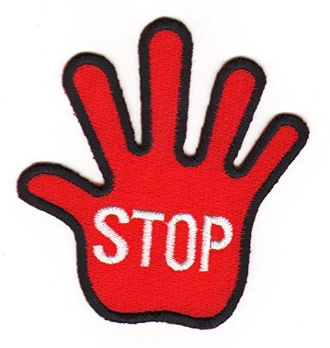Hand Stop Zeichen Rot Aufnäher Bügelbild Iron on Patches Applikation